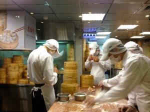 Dumpling masters hard at work.